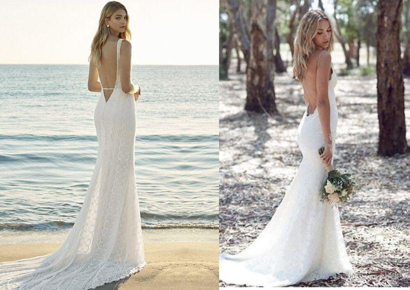 Necklines Backless Beach Wedding Dresses