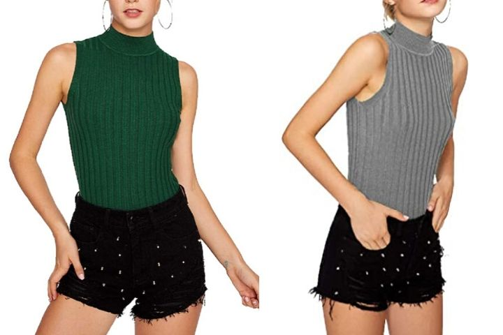 Nicetage Womens Sleeveless Virgin Killer Sweater