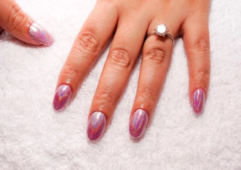 holographic nail design in pink
