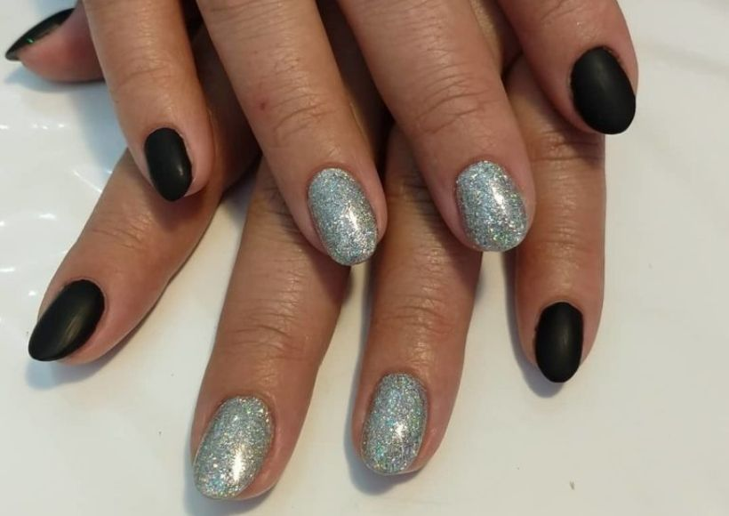 holographic nail design with a polish